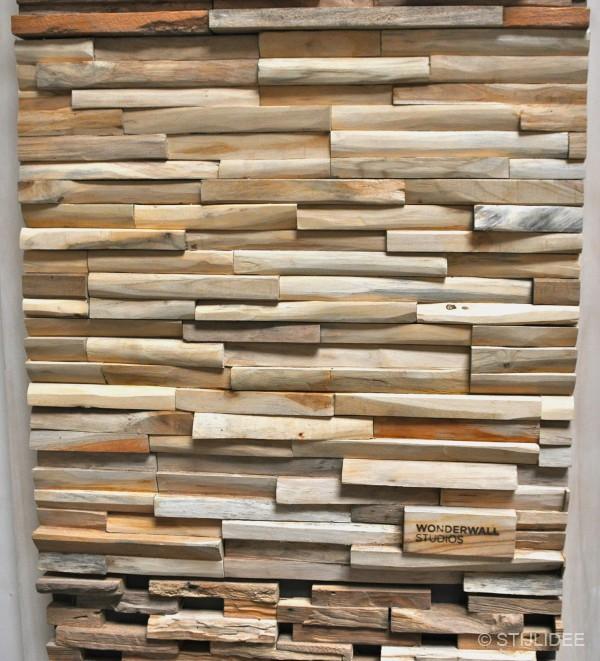 ... in huis met decoratieve wandpanelen in hout kokos leer mos of steen